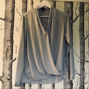 Ann Taylor blue striped faux wrap hi-low blouse